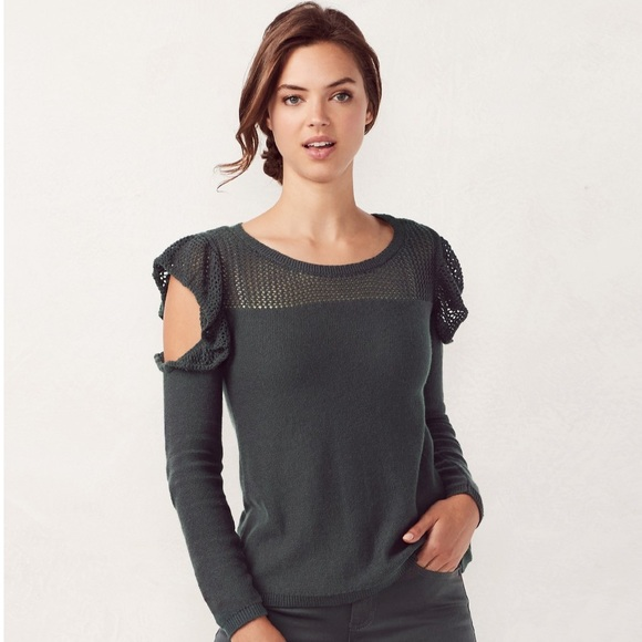9f321a9f42948b LC Lauren Conrad cold shoulder sweater